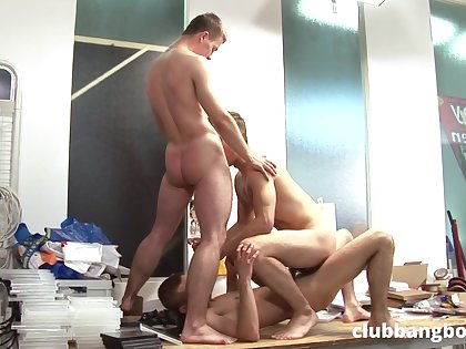 Twinks are sharing a lot of threesome in crazy gay scenes