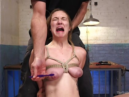 Busty girl screams in pain during estimated maledom BDSM