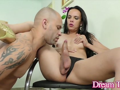 Hot and horny shemale babes enjoy getting their hard dicks sucked by guys