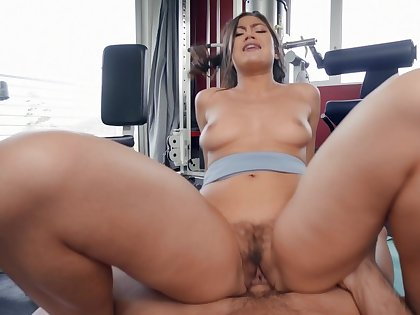 Aroused Asian with big ass, nasty riding porn elbow the gym