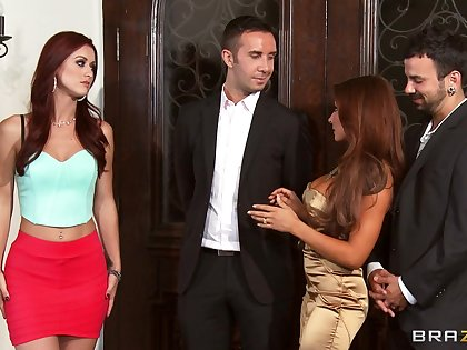 Foursome fucking on the couch with wives Karlie Montana and Madison Ivy