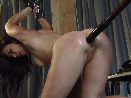 Sexy girlfriend Ally Exhibit tied up and gets her ass penetrated