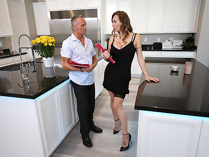 Natasha Starr fucks will not hear of husband's wage-earner in nothing butt will not hear of sexy stockings plus heels