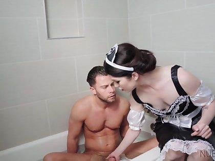 Elegant maid provides adventitious services plus she fucks like a god