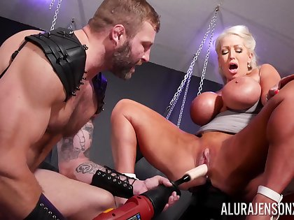 Rough BDSM pussy and anal of a big ass cougar in the first place fire