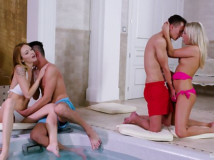 Nice group sex party with desirable babes Cayla Lyons and Bella Claire