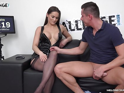 Hot ass chick Barbara Bieber in stockings rides an amateur man