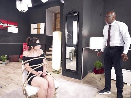 Deepthroated with the addition of anal fucked in scenes of elegant BDSM interracial