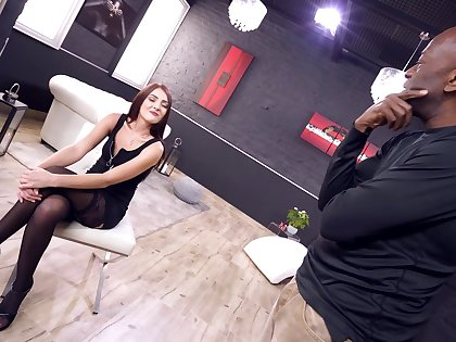 Energized teen fulfills their way desires with fantasy interracial anal sex