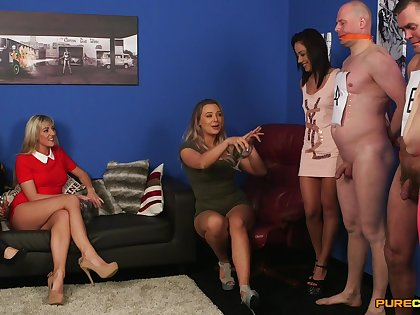 Naked dude gets his dick sucked by naughty Beth Bennett and Nesty Nice