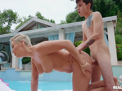 Serious hard sex by the pool be incumbent on mommy