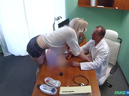 Naughty doctor puts his extended unearth in wringing wet pussy of Lexi Lou