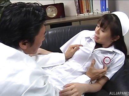 Fucking on the leather sofa with Japanese nurse Ai Takeuchi