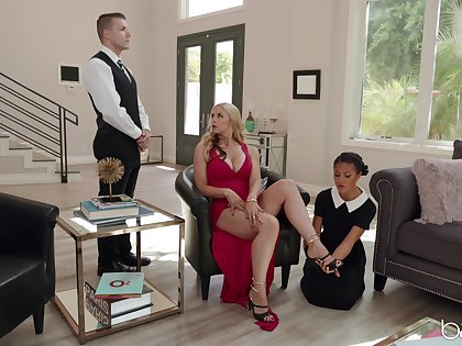 Energized blonde with fine curves, erotic threesome with her maid and the butler