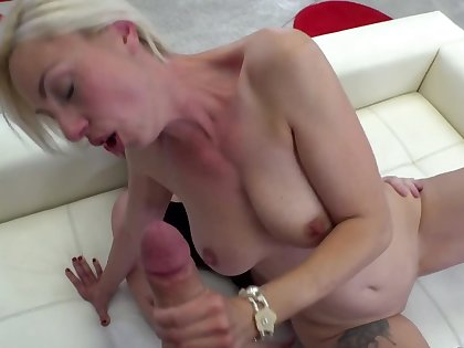 Blonde slut rides a rod with her ass increased by sucks on the other several