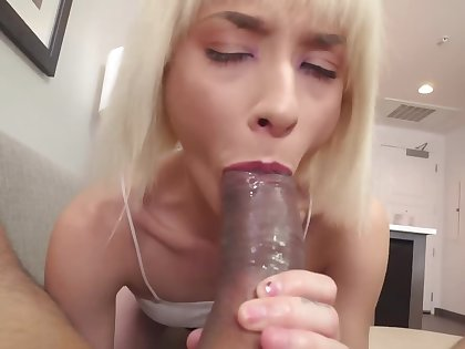 Blonde gives stepbrother a blowjob prevalent toilet added to living range