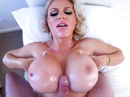 Blonde Russian MILF uses huge jugs and mouth to accept the blame for faux pas